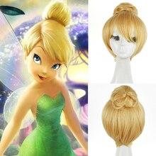 Księżniczka Dzwoneczek Tinkerbell krótkie włosy blond z Bun peruka żaroodporne Cosplay Costume peruki + darmowe peruka Cap