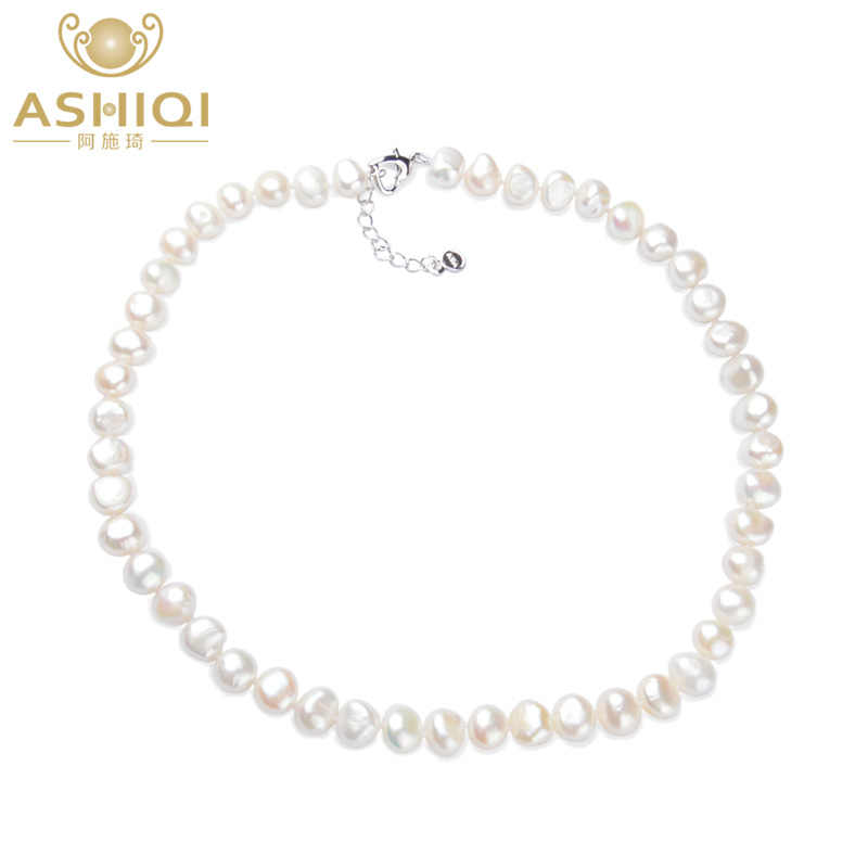 ASHIQI White Natural Baroque pearl Necklace 9-10mm Real Freshwater pearl jewelry for women Fashion gift
