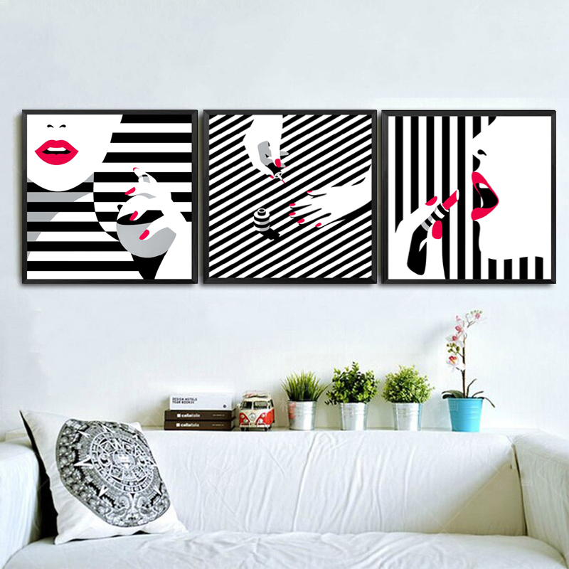 Nordic Prints Painting Lady Room Wall Canvas Black White Stripe S Pictures Red Lips Beauty Makeup Nail Art Poster Home Decor