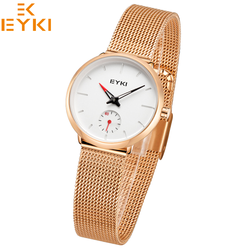 EYKI Women's Watches Top Brand Luxury Fashion Style Quartz Movement Stainless Steel Mesh Strap relogios femininos de bracelete