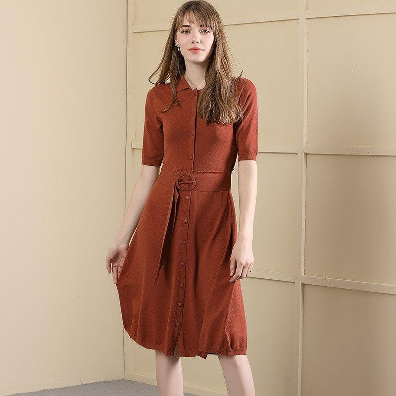 Knitting dress 2019 Autumn New arrival Temperament Commute short Sleeve long waist Dress women for autumn 18058