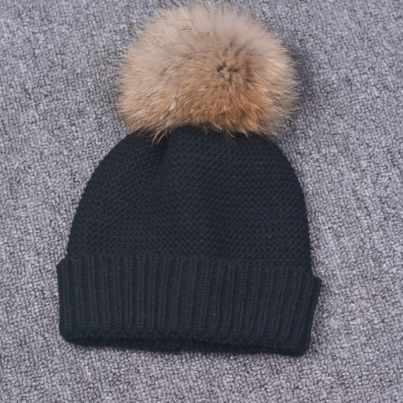 2017 Winter Autumn Fashion Women Wool Knitted Beanies Caps 100 Real Raccoon Fur Pompom Beanie Hats