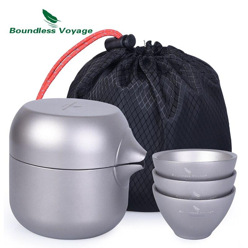 Grenzenlose Voyage Doppel Schicht Titan Tee Wasserkocher Topf mit 3 Titan Tassen Tee Sieb Teekanne Set für Outdoor Indoor Camp