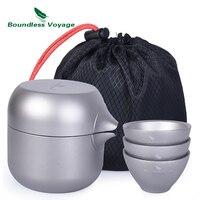Sınırsız Voyage çift katmanlı titanyum çay su ısıtıcısı Pot 3 titanyum bardak çay süzgeci çaydanlık seti açık kapalı kamp
