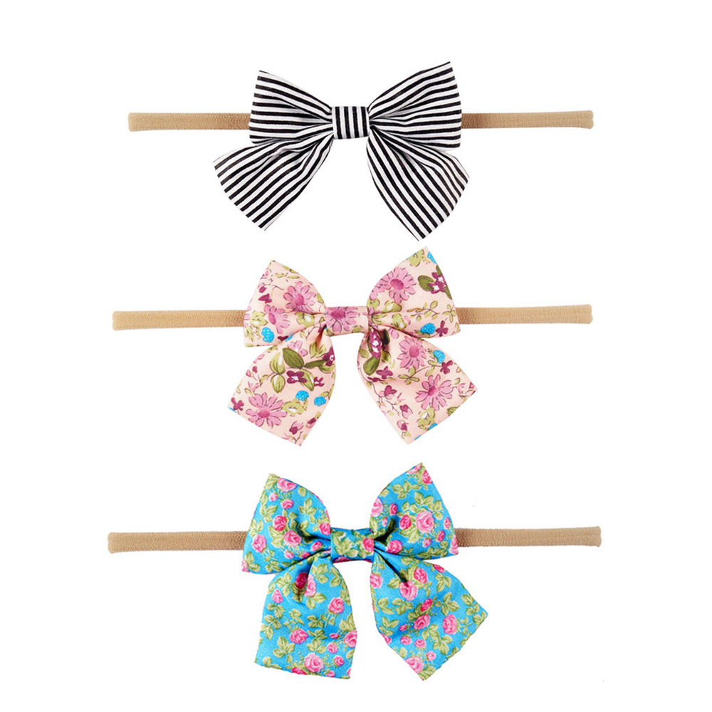 3Pcs/lot Lovely Printed Floral Fabric Bow Headband Striped Dots Knot Elastic Nylon Hair Band For Girl Children Headwear 3pcs lot lovely printed floral fabric bow headband striped dots knot elastic nylon hair band for girl children headwear
