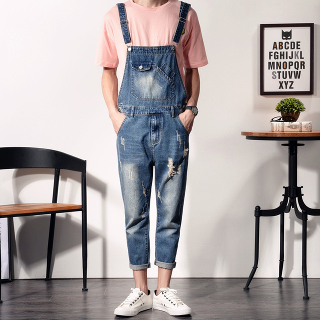 36eed6c9de19 Fashion Skinny Overalls Men Slim Ripped Jeans Distressed Denim Jumpsuits  For Man Casual Blue Denim Bib Overalls Jeans
