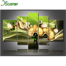 YOGOTOP DIY Diamond Painting Cross Stitch Kits Full Diamond Embroidery 5D Diamond Mosaic Home Decor  Magnolia flower 5pcs ML221 yogotop diy diamond painting cross stitch kits full diamond embroidery 5d diamond mosaic decor colorful butterfly 5pcs ml307