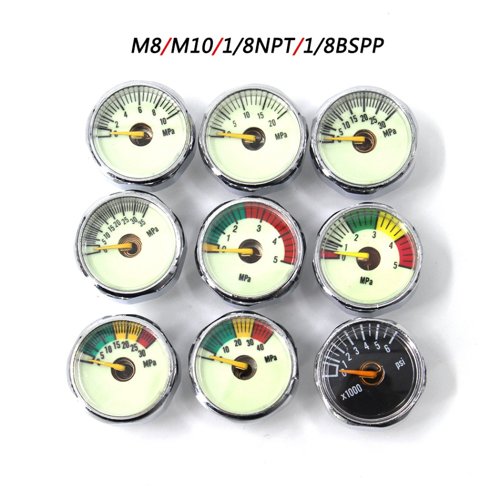 PCP Paintball Airforce Scuba Din Valve Regulator Pump M8x1 M10x1 1/8NPT 1/8BSPP Mini Pressure Gauge Manometre 20/30/40MPA 1 Inch