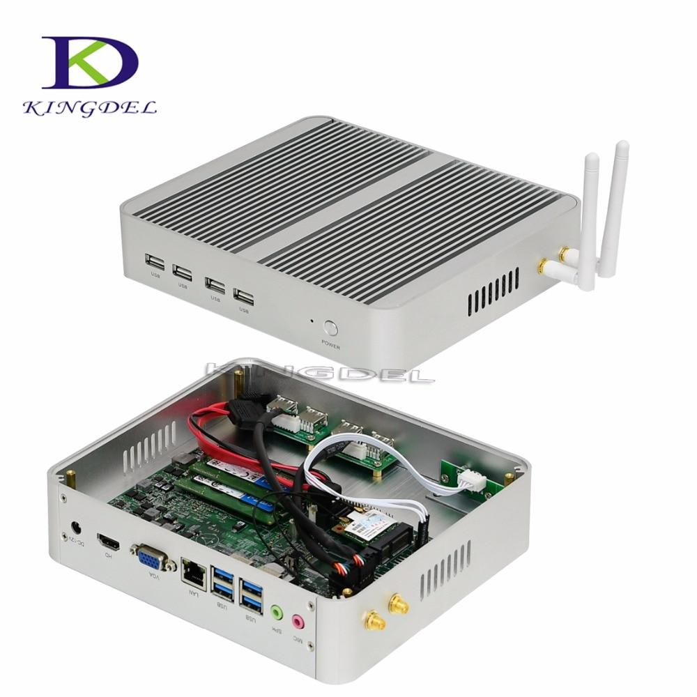 Fanless HTPC Core I5 6360U 4K VGA HDMI Nettop Computer Windows 10 Mini PC With 300M WIFI 8 USB 16G RAM 512G SSD Max 3.1GHz