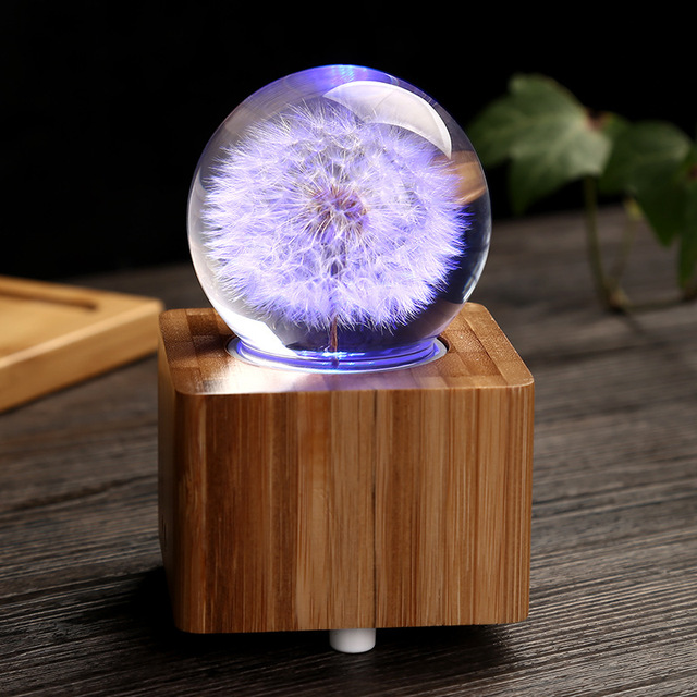 Crystal Ball Wooden Music Box Luminous Bluetooth Speaker Christmas Gift Happy Birthday Gifts For Girlfriend Valentines Day