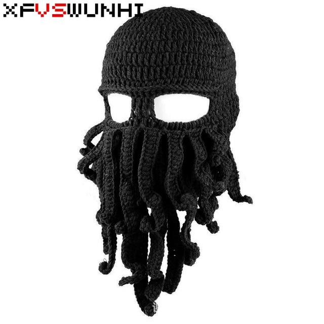 0f24160e4 US $9.53 |XFVSWUNHI Funny Tentacle Octopus Hat Ski Squid Hat Mask Beard  Beanie Cap Men's Women's Wool Knit Wind Cap Halloween Gift Cosplay-in Men's  ...
