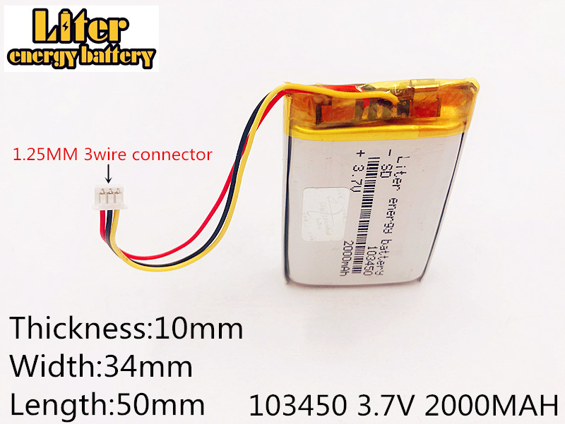li-po 1.25mm connector 103450 <font><b>3.7V</b></font> <font><b>2000MAH</b></font> <font><b>lipo</b></font> polymer lithium rechargeable <font><b>battery</b></font> GPS navigator DVD recorder headset e-book image