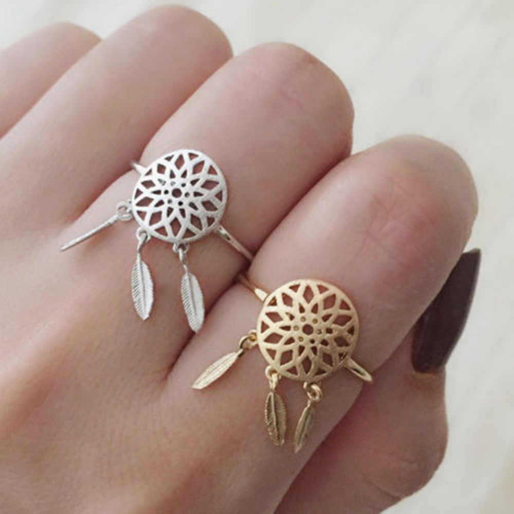 1 sztuka Hollow out Metal Dreamcatcher liście pierścień wisiorek z piórkiem Dream Catcher chcesz pierścienie kobiety biżuteria
