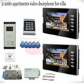 For 2 Apartments Access control Color Video Doorphone Door Entry Intercom Systems  Video Camera+Electronic lock full kit