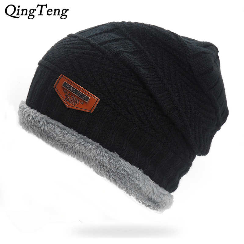 23c91c750a7 Winter Warm Male Beanies Cap Plus Velvet Stocking Hat Fashion Knitted Hats  For Men Women Black