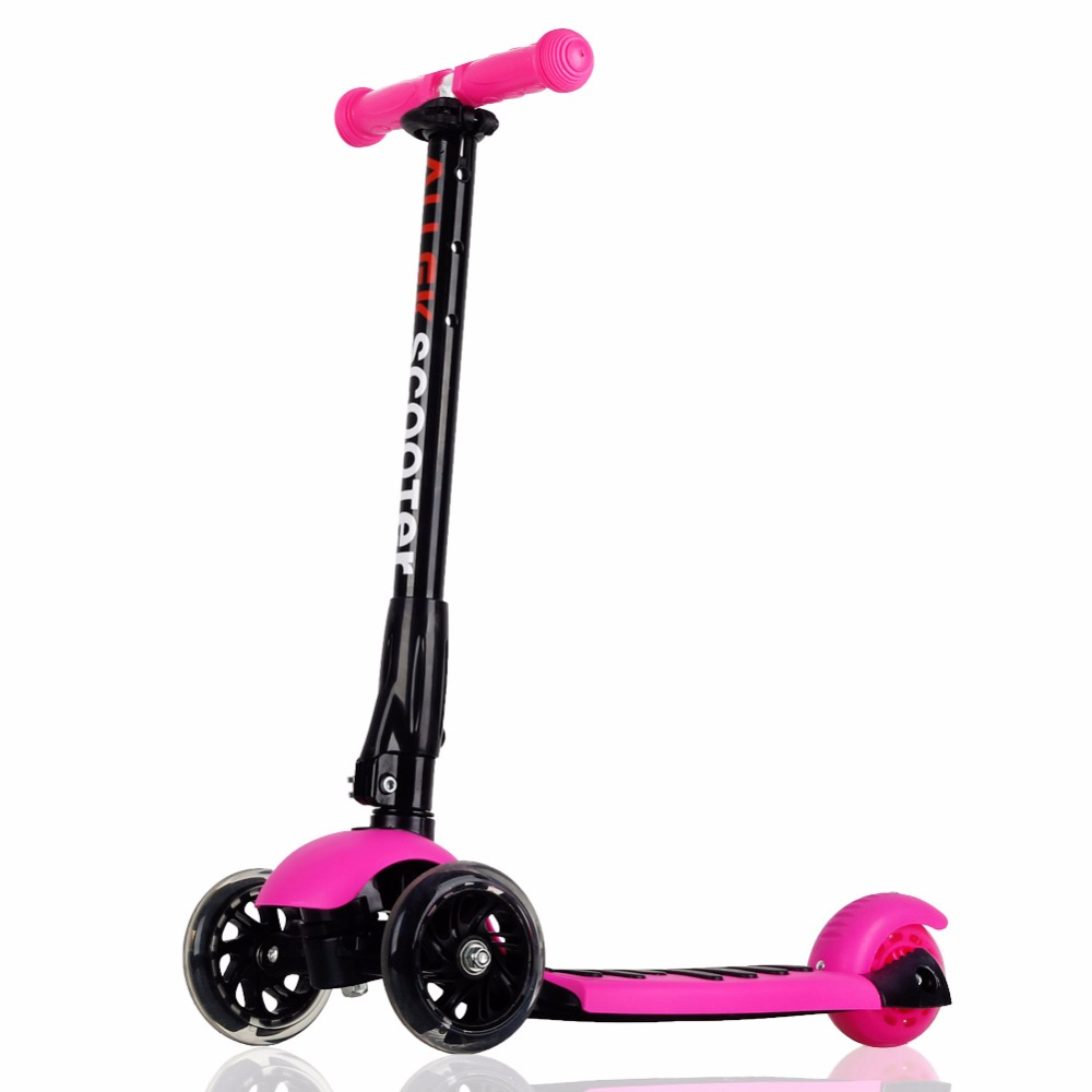US Ship Scooters Allek Foot Kick Scooter Folding 3 Wheels with LED Light Up T-bars for Kids Rose Red