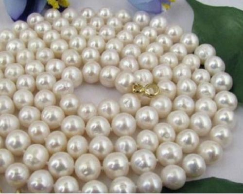 14KGP 32 INCH 9-10MM NATURAL SOUTH SEA GENUINE WHITE PEARL NECKLACE xiuli 001832 natural 9 10mm golden round pearl necklace 14kgp