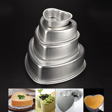 4-piece Aluminium Heart Shaped Cake Pan Set Tin Muffin Chocolate Mold Baking with Removable Bottom Cheese Decorating Tools