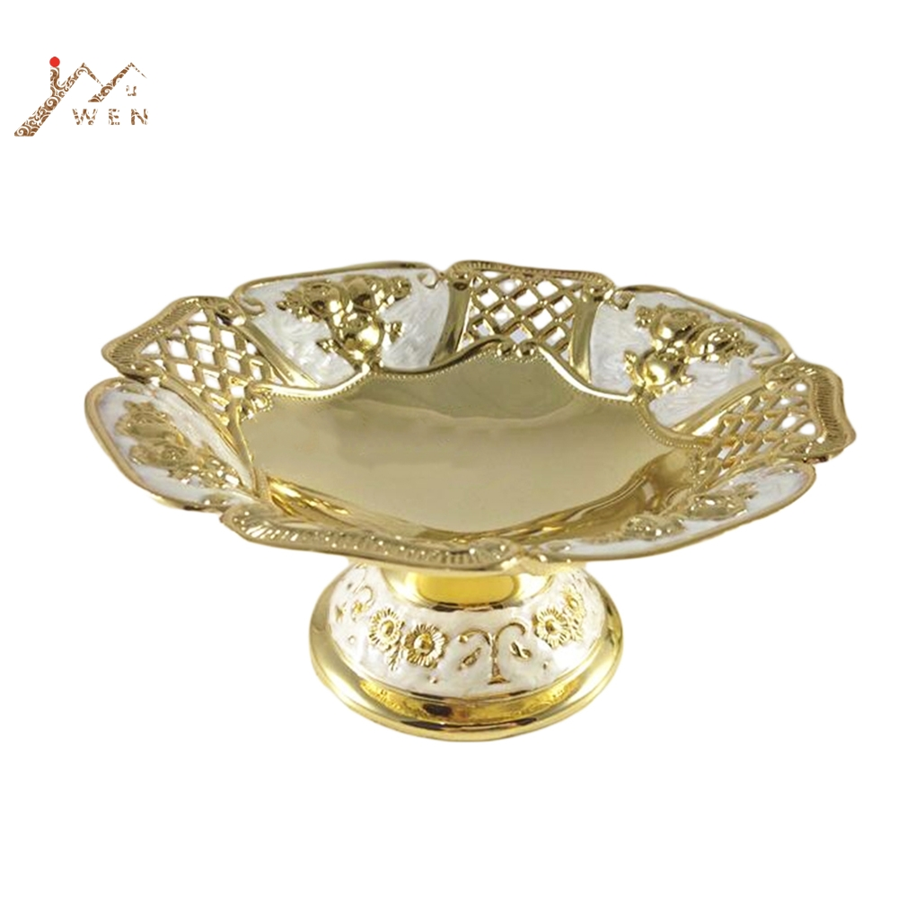 Free Shipping Elegant Hollow Golden Plated Dried Fruit Plate Snack Tray /luxury Home Fruit Bowl