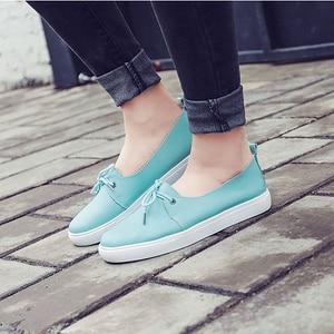 Image 3 - Женские студенческие туфли DONGNANFENG из натуральной кожи, белые туфли на плоской платформе, на шнуровке, Корейская повседневная обувь с вулканизированной подошвой FEZ 173