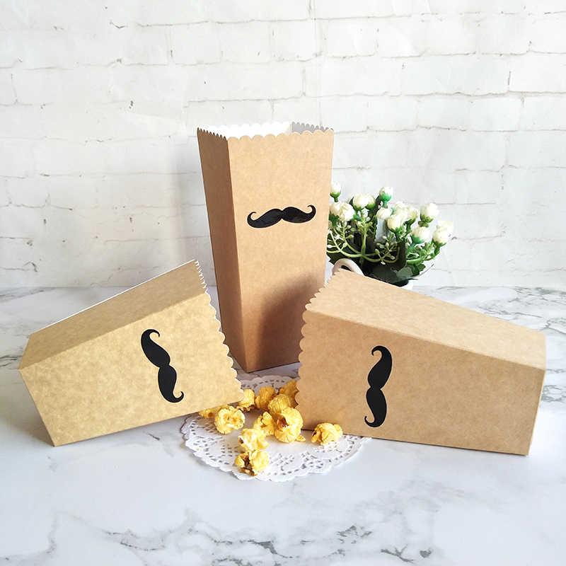 12 個クラフト紙ポップコーンボックス口ひげ & リップステッカー映画結婚式誕生日パーティーの少年少女好意キャンディスナック治療ボックス