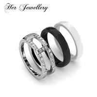 Her Jewellery white & black ceramic ring new design fashion women ring Made with crystals from Swarovski HR0339