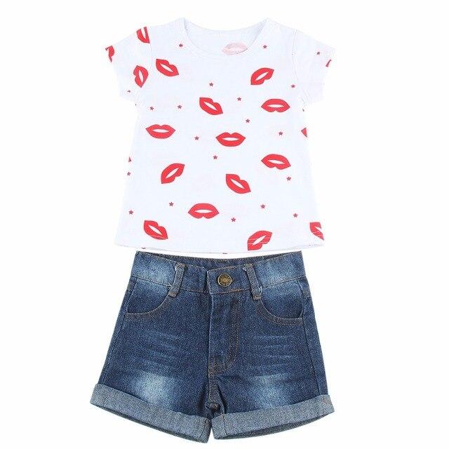 9274e9d255 Puseky 2pcs Kids Infant Baby Girls Outfits Set Lip Kiss Top T Shirt +Jeans  Short Pants Summer Clothes Clothing Set Suit 1-6Y