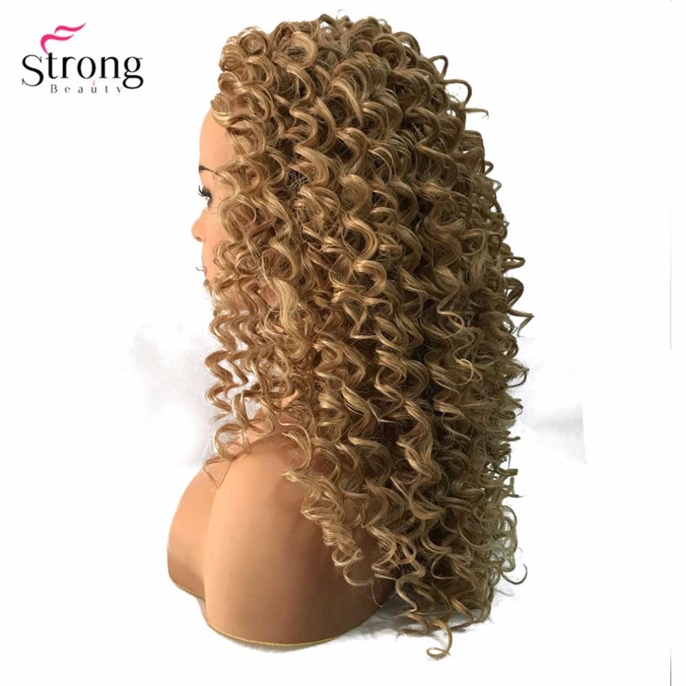 StrongBeauty Lace Front Parykar Brun / Svart Lång Sassy Curly Hair - Syntetiskt hår - Foto 4