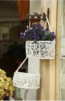 Free Shipping Wall Flower Baskets Hand Woven Wall Hanging Wicker Basket Hanging Basket Wicker Storage Basket