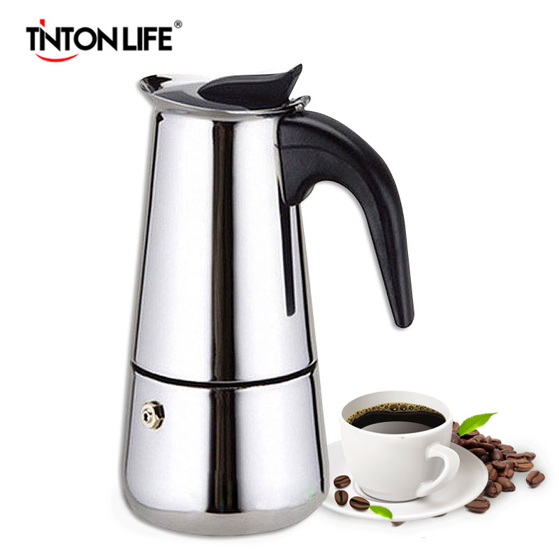 TINTON LIFE Stainless Steel Moka Espresso Latte Percolator Stove Top Coffee Maker Pot home appliance 2 4 6 9 cups coffee maker pot for household stainless steel moka coffee latte percolator stove coffee pots
