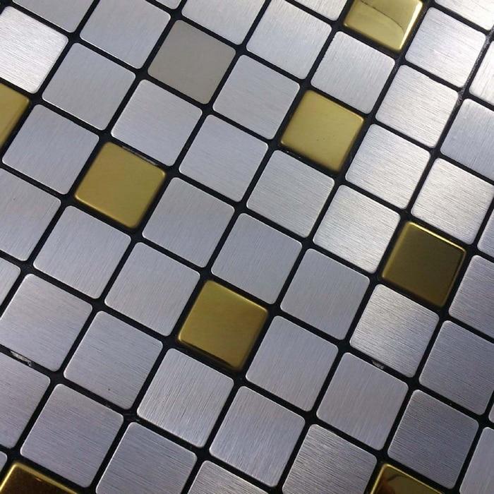 silver mixed golden color square 20x20mm self adhesive aluminum composite mosaic tiles bathroom. Black Bedroom Furniture Sets. Home Design Ideas