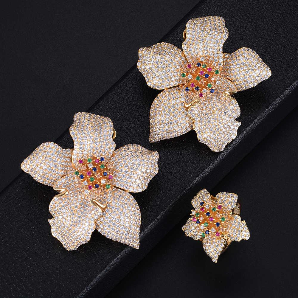 GODKI 49mm exclusif Super luxe fleur florale fleur cubique zircone femmes mariée fiançailles boucle d'oreille bague ensembles de bijoux