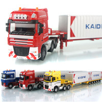 1:50 Alloy Low Bed Transporter Model Car Heavy Telescopic Transport Vehicle Cars Toys For Children Boys