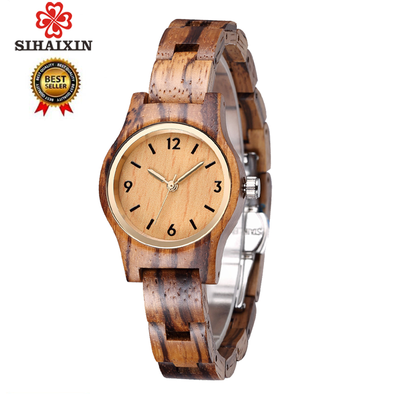 SIHAIXIN small wood quartz wrist watch for women analog simple vintage unique sandal wooden band ladies
