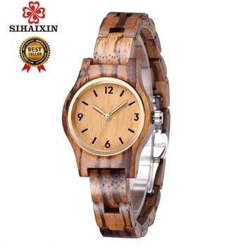 SIHAIXIN küçük ahşap kuvars kol saati kadınlar için analog basit vintage benzersiz sandal ahşap bant bayan saatler