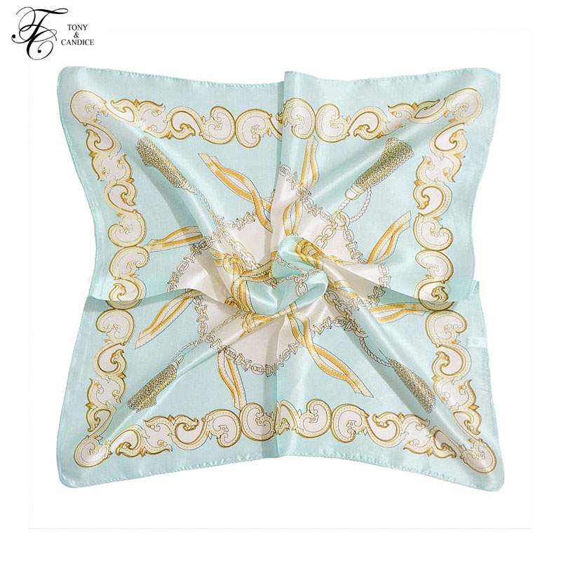 Women's Silk Scarf Graphic Print 100% Silk SquareScarf NeckerchiefFashion Shawl Suitable In Beach Satin Bandana Neck Warmer Wrap