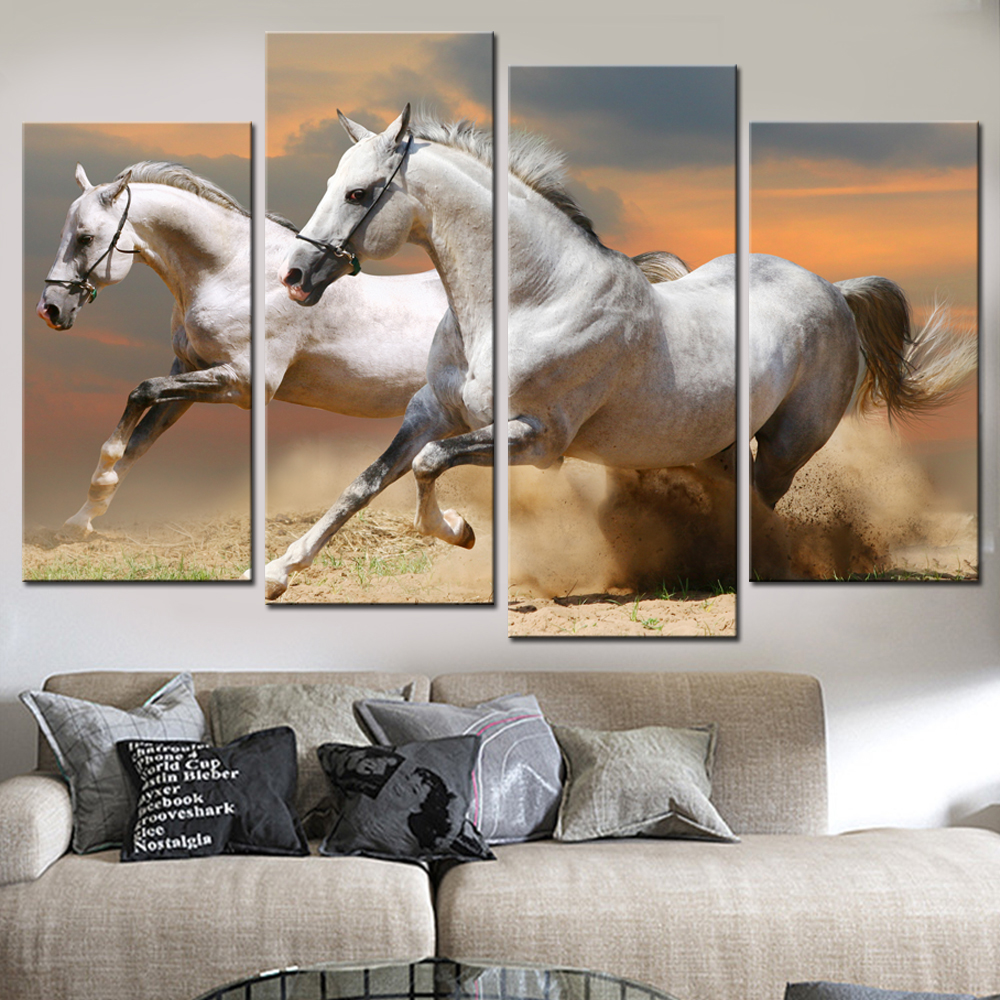 Horse sticker wall art - Modular Canvas Wall Art Pictures Print Painting Frame Modern Room Decor 4 Panel Animal White Horses