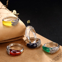 New Elegance S925 pure silver mark sunriser sets yellow chrysoprase pomegranate red lady ring wholesale high grade openings