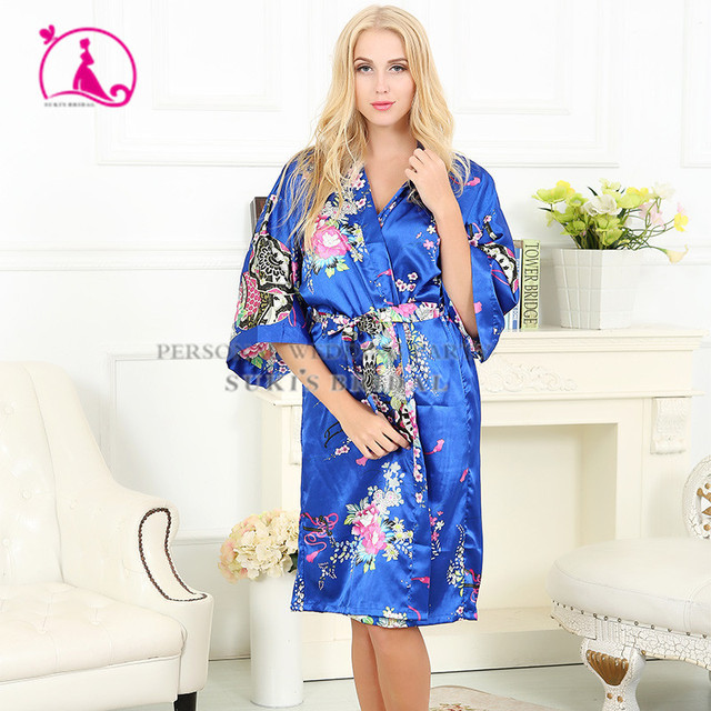 New 2016 Nightgowns Sleepshirts Silk Bathrobe Women Sleepwear Dressing Gown Homewear Female Long Terry Robe chemise de nuit J582