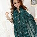 Spring summer ladies chiffon scarf shawl long lady sunscreen textile printing dot beach towel scarf luxury brand