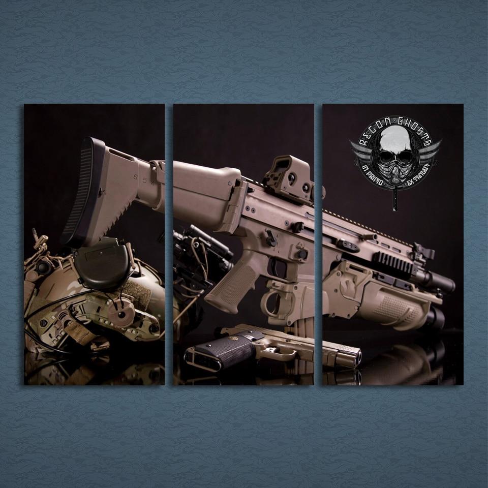 Arma Pistola de Marco Para Cuadros 3 Panel moderna Decoración Del ...