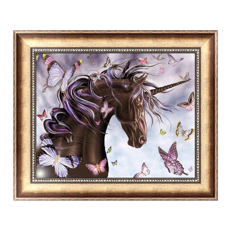 Horse Butterfly 5D Diamond Embroidery Painting Cross Stitch DIY Craft Home Decor 40*32cm