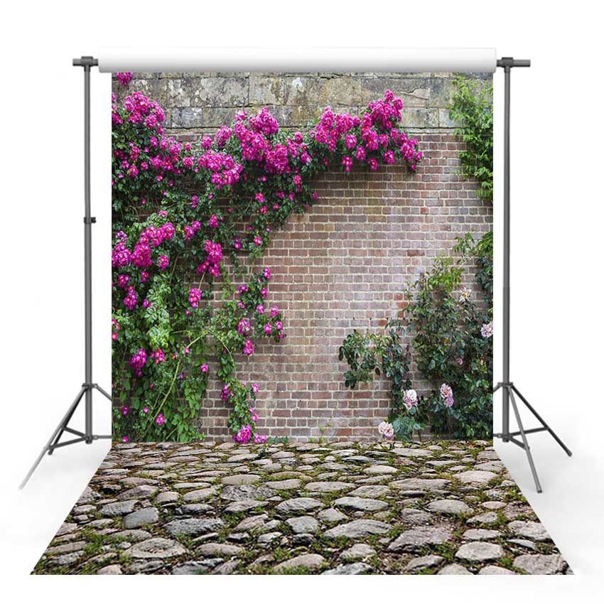Vinyl Photography Backdrop Spring Season Forest Wildflower Tree brick wall stone Decor Children Background Photo Studio
