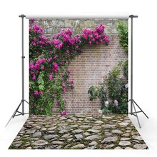 Get more info on the Vinyl Photography Backdrop Spring Season Forest Wildflower Tree brick wall stone Decor Children Background Photo Studio