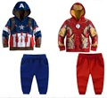 2016 Spring/autumn Avengers Clothing Set For Boys Children's Sport Set Super Hero Iron man Boy's Casual Coats + Pants Cotton