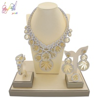 YULAILI High Quality Fashion Gold Color AD Zircon Jewelry Set for Bridal Costume
