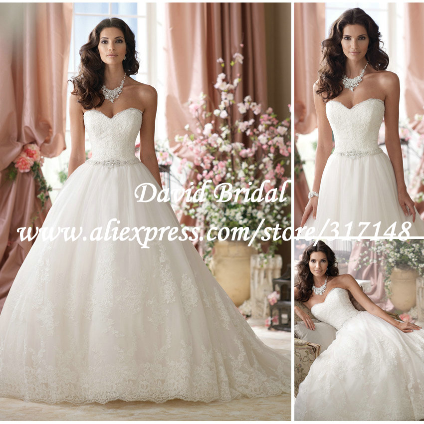 2014 designer sweetheart crystal belt ball gown wedding for Designer ball gown wedding dresses