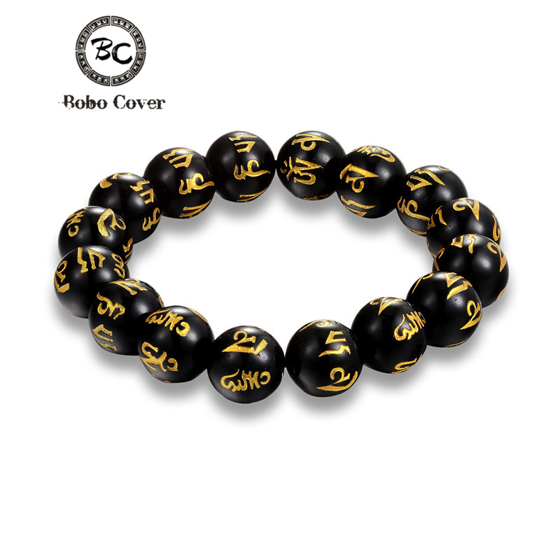 Bobo Cover Retro Tibetan Buddhism charm Black nature Beads Bracelets Men Six Words Mantras OM MANI PADME HUM Buddha Bracelet