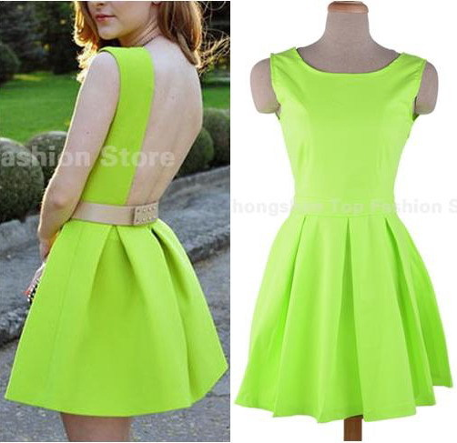 Women Neon Green Open Back Dresses Backless Sashes Party Short Mini Sexy  2015 Spring and Summer New Design Sundress Tunics Gowns fb6d44c9a22f