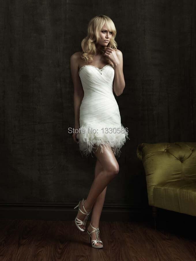 Short White Feather Wedding Dress - Short Hair Fashions